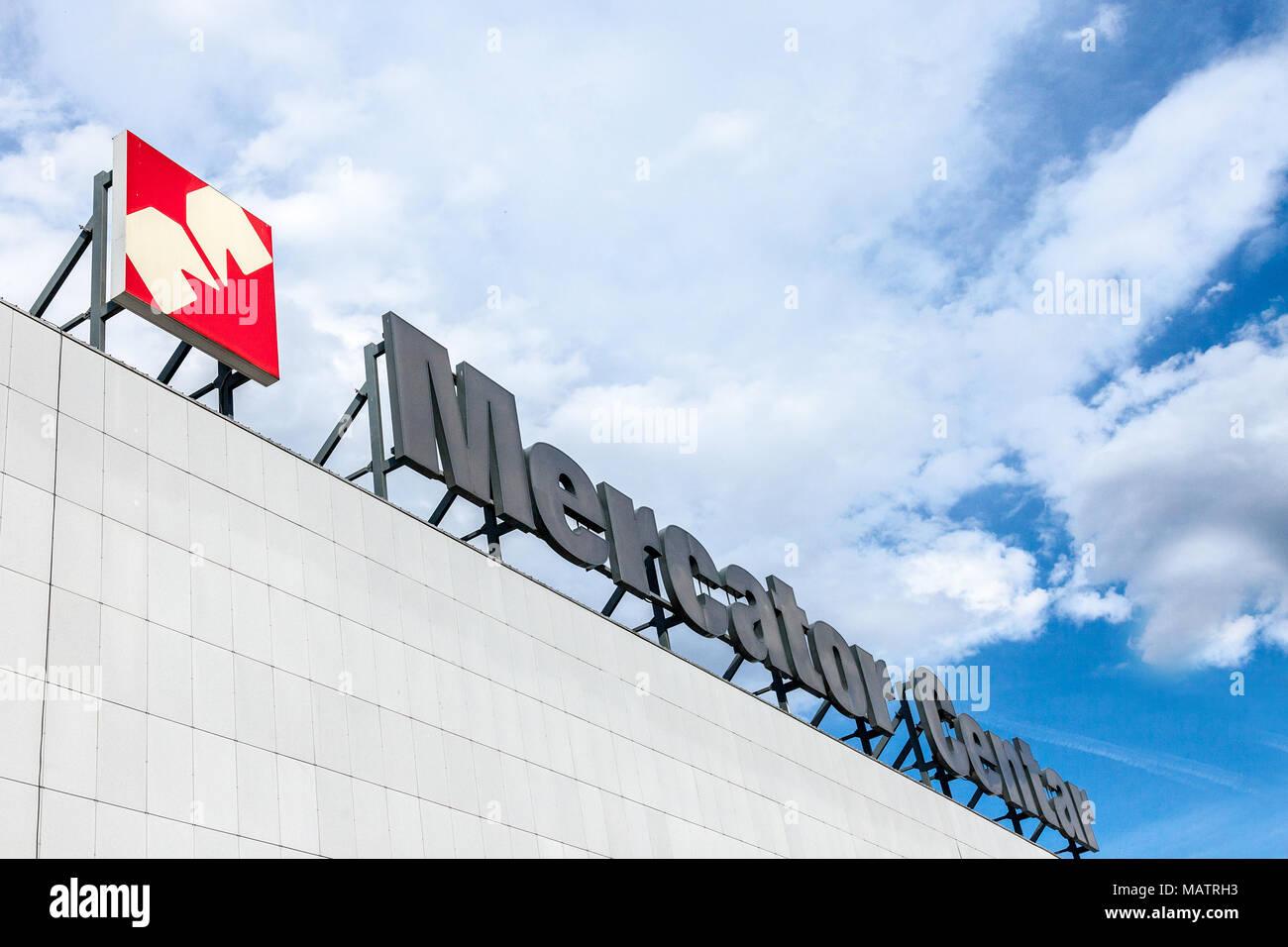 BELGRADE, SERBIA - MARCH 30, 2018: Mercator Center Supermarket with its logo, Mercator is a Slovenian Supermarket brand belonging to the Croatian Grou - Stock Image