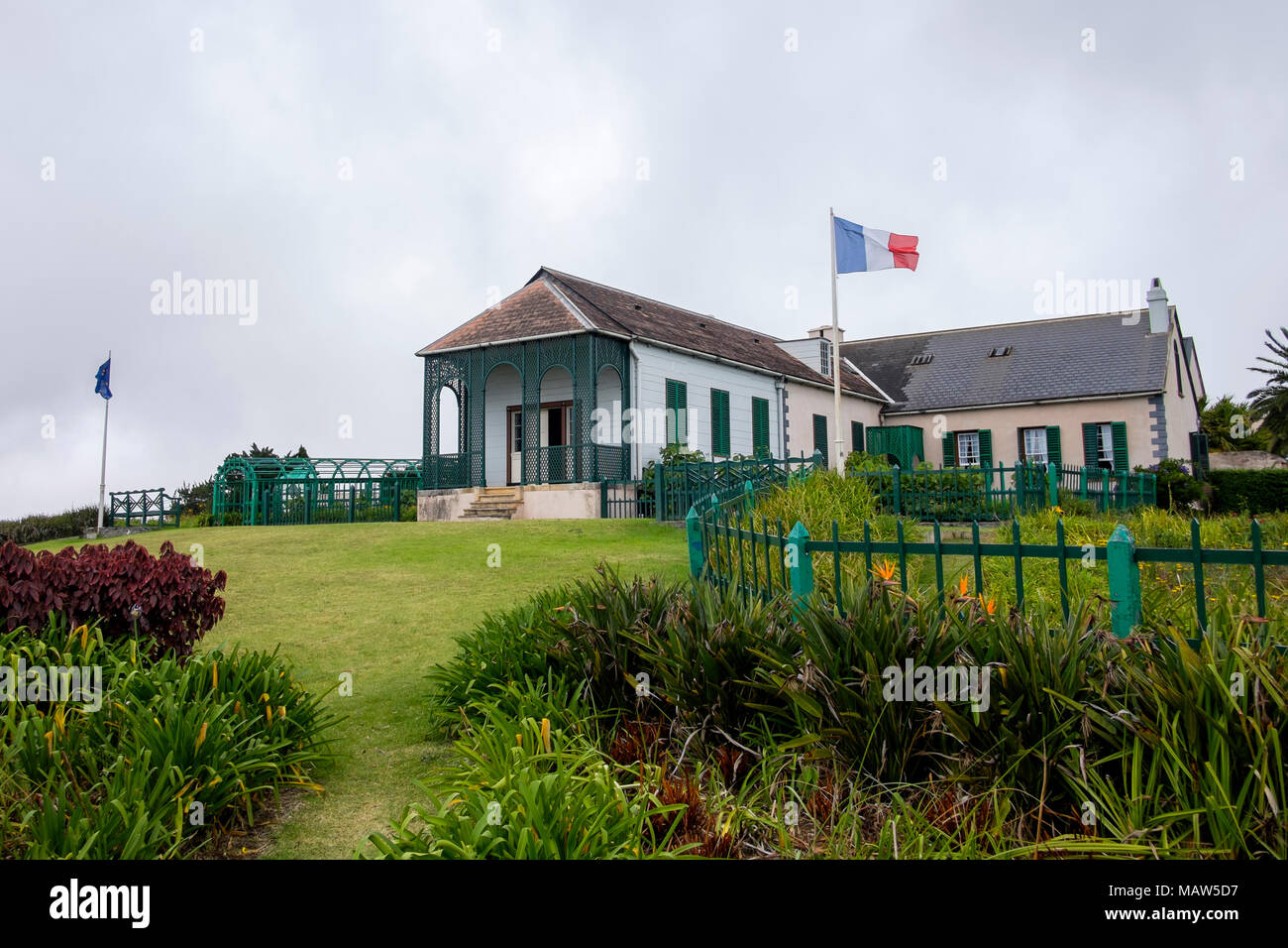 Longwood House, the final residence of Napoleon Bonaparte, during his exile on the island of Saint Helena. Stock Photo