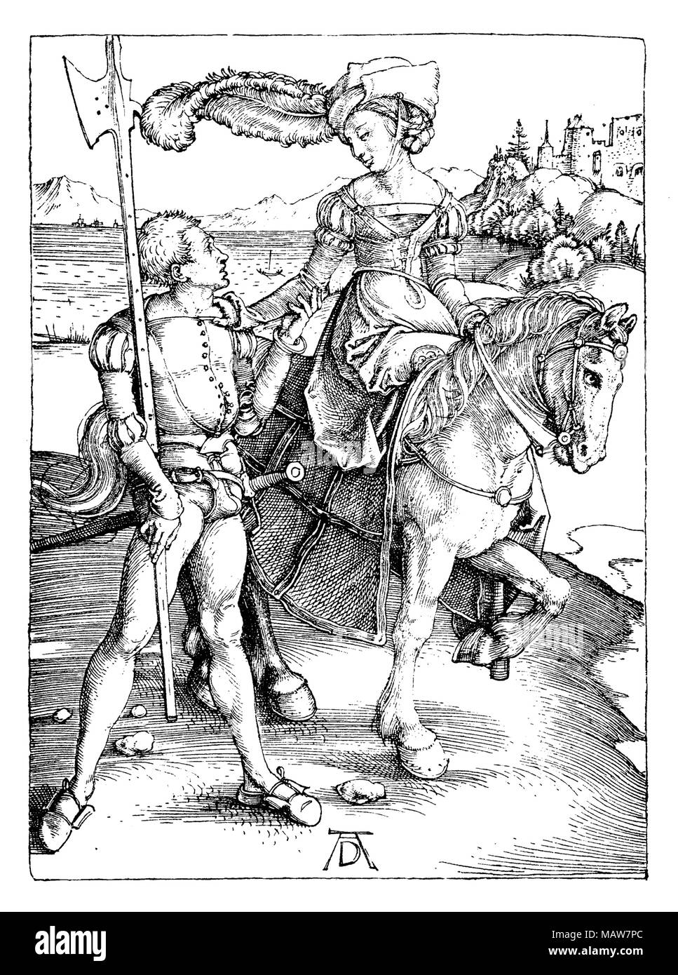 The Lady on Horseback and the Lansquenet by Albrecht Dürer, year 1497 - Stock Image