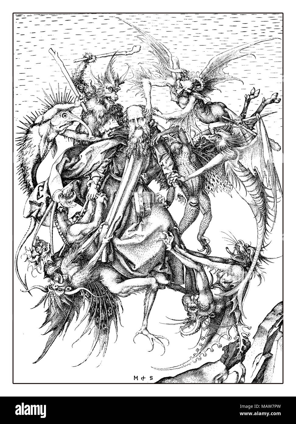 The Temptation of St Anthony that the Christian monk Anthony the Great faced during his desert pilgrimage, engraving by Martin Schongauer, year 1470 - Stock Image