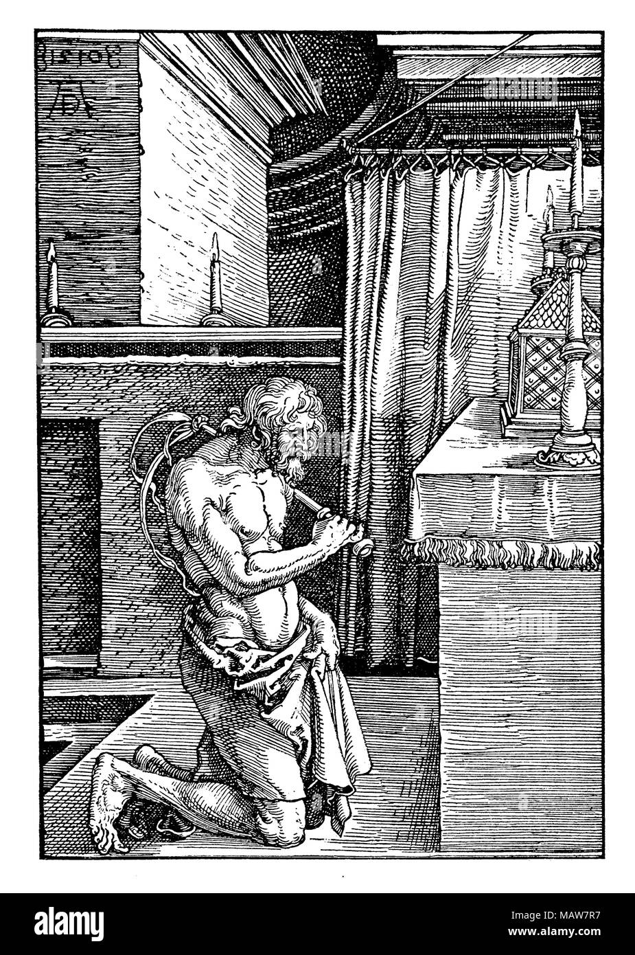 Flesh mortification: I am a flagellate penitent,  by Albrecht Dürer, year 1510 engraving - Stock Image