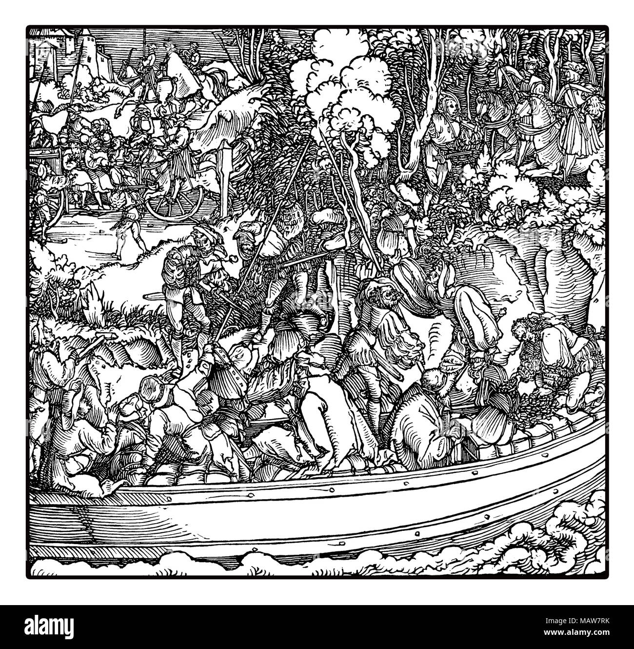 Robber barons tolling station: feudal landowners robbing travelers and merchants on river traffic, by Hans Schauffelein, year 1532 engraving - Stock Image