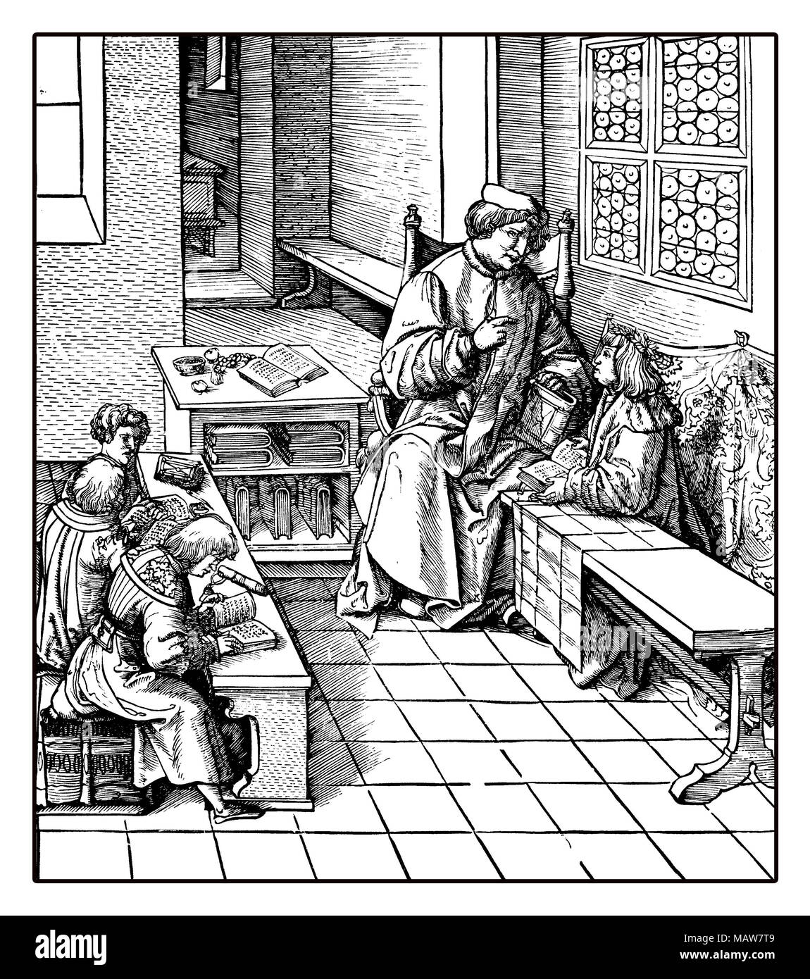 Holy Roman Emperor Maximilian tutoring the to be christened children, reproduction from an engraving of Hans Burgkmair, XVI century - Stock Image