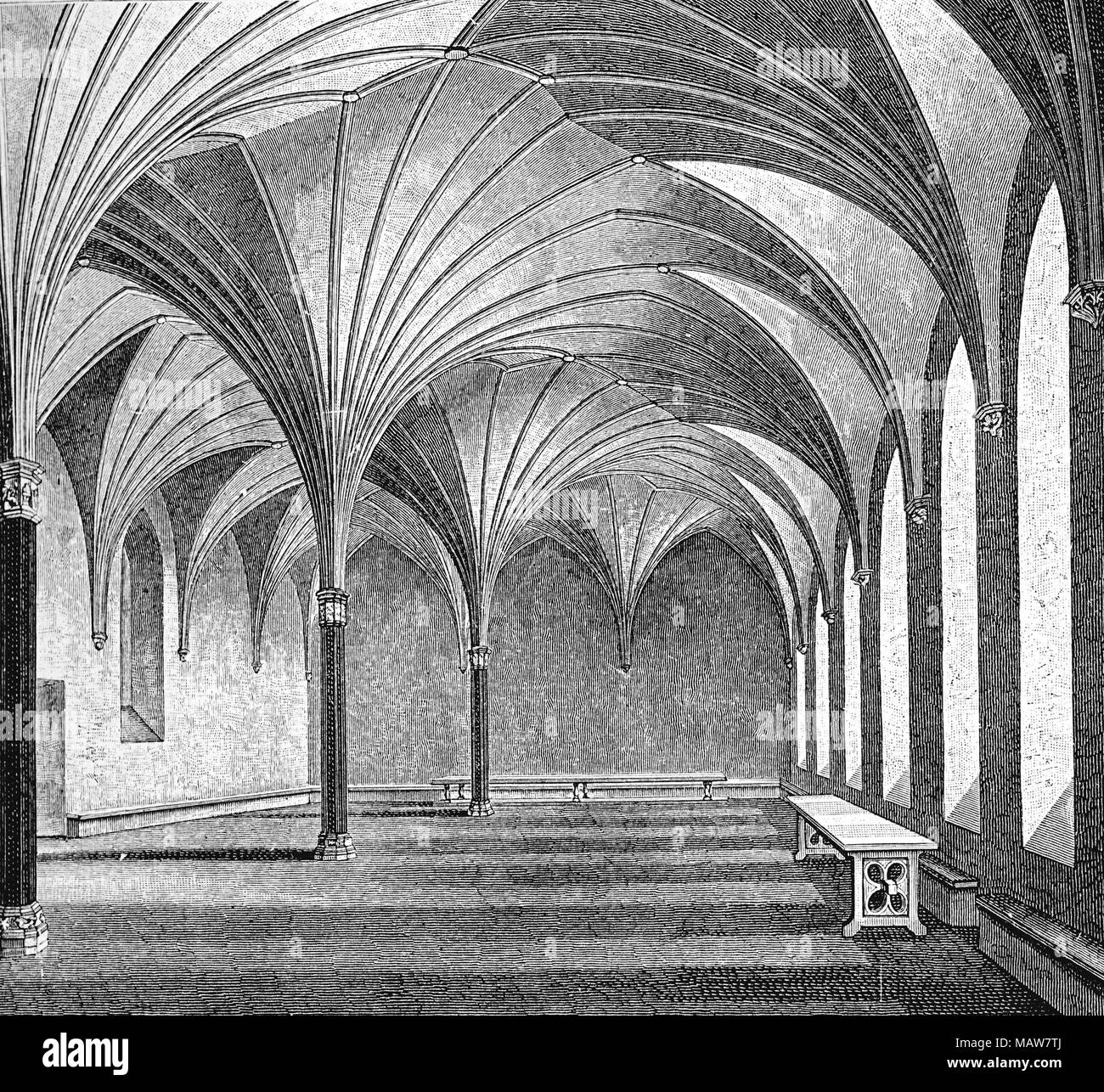 Marienburg - Malbork Castle; large brick castle built by the Teutonic Knights (now Poland): refectory hall; XV century - Stock Image