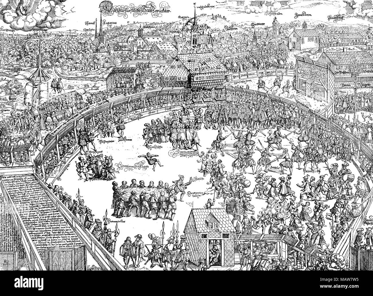 Middle Ages leasure time: the Zwickau shooting festival in 1573, vintage engraving - Stock Image