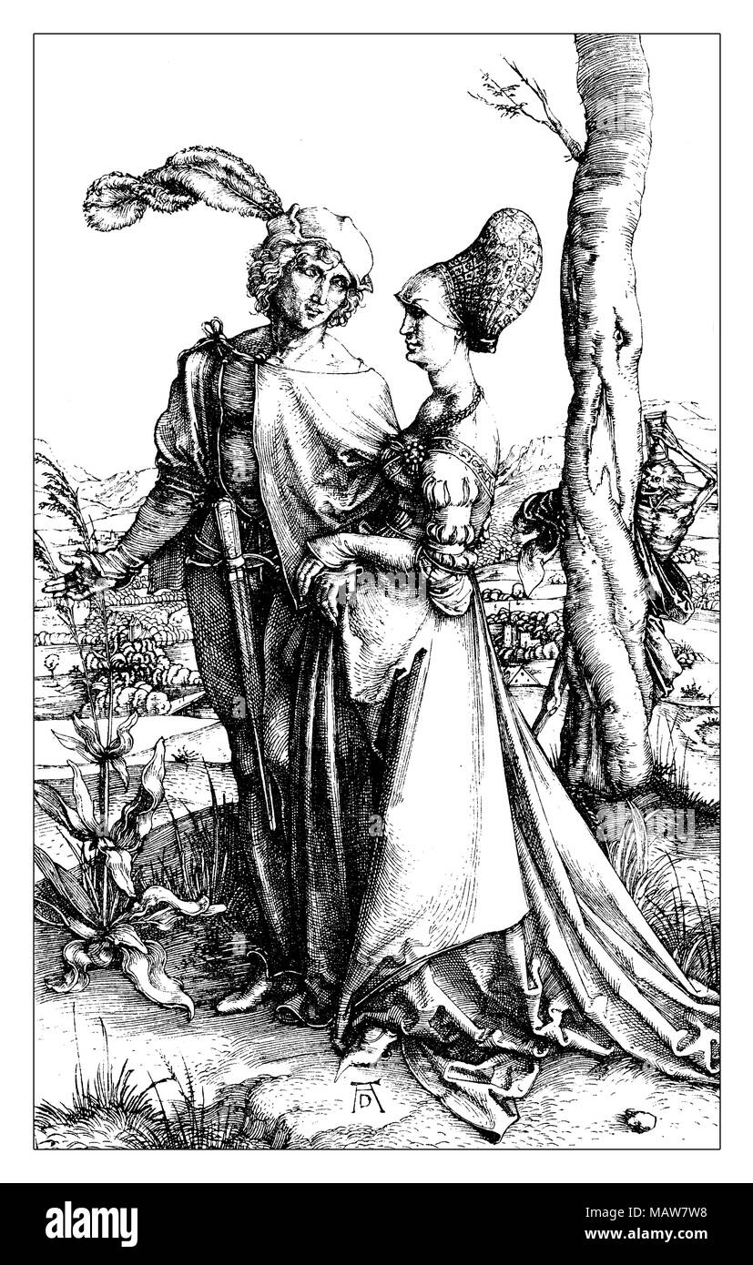 Young Couple threatened by Death by Albrecht Dürer, year 1498. Noble couple promenade, while death with hourglass looks at them, behind a tree trunk. - Stock Image