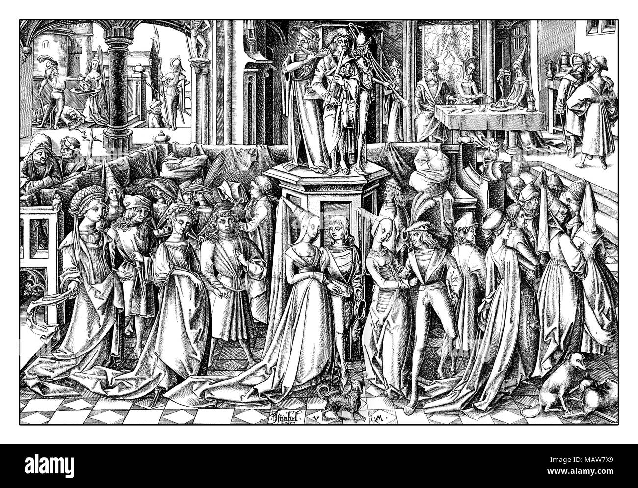 The Dance of the Daughters of Herodias, engraving by Israhel van Meckenem (1445 – 1503), year 1503 - Stock Image