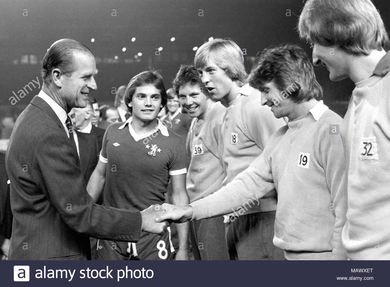File photo dated 27-10-1975 of Chelsea captain Ray Wilkins (centre) introduces the Duke of Edinburgh to members of his team at Stamford Bridge before the charity match between Chelsea and the Italian Under-23s in aid of the National Playing Fields Association. Stock Photo