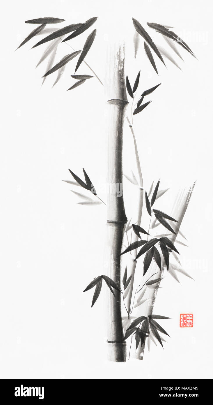 Minimalistic bamboo stalks with leaves artistic oriental style illustration, Japanese Zen Sumi black ink painting on white rice paper background - Stock Image