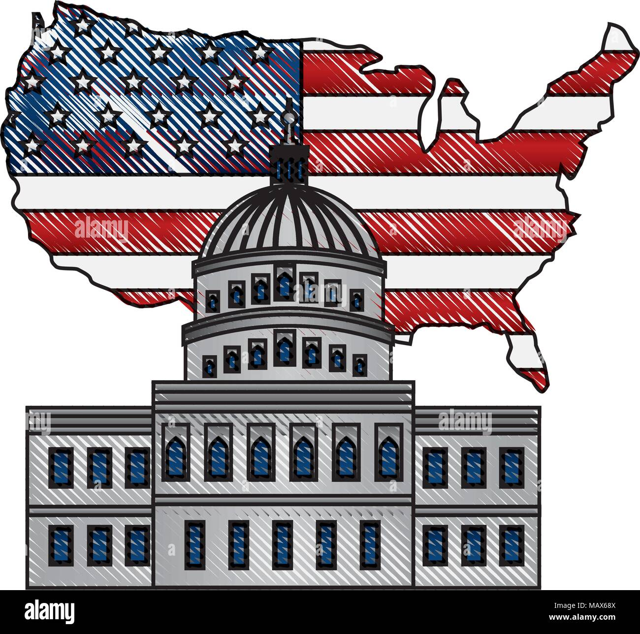 Map Of Us Capitol Building.United States Capitol Building In Washington Flag On Map Stock