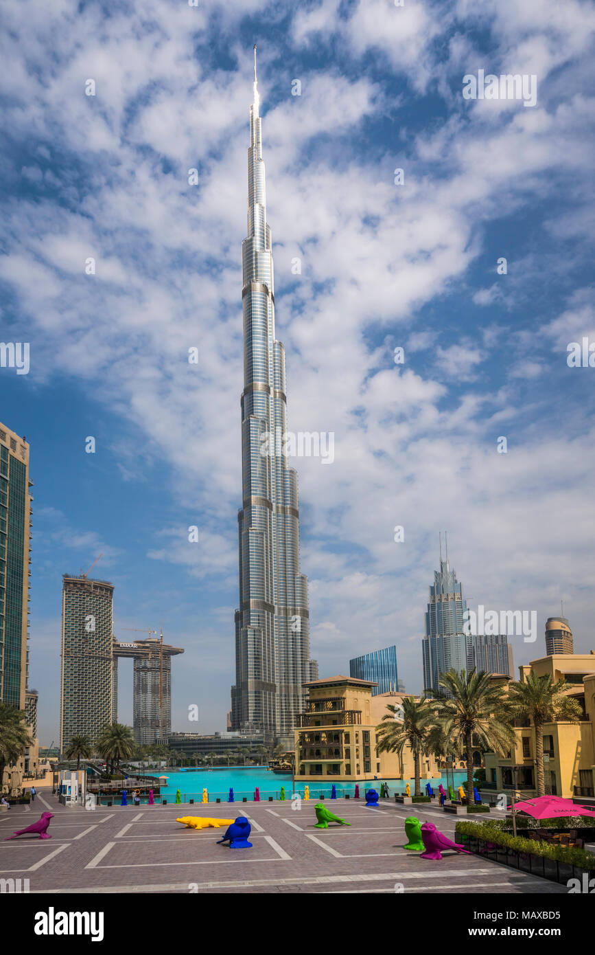The Burj Khalifa tall building in downtown Dubai, UAE, Middle East. - Stock Image