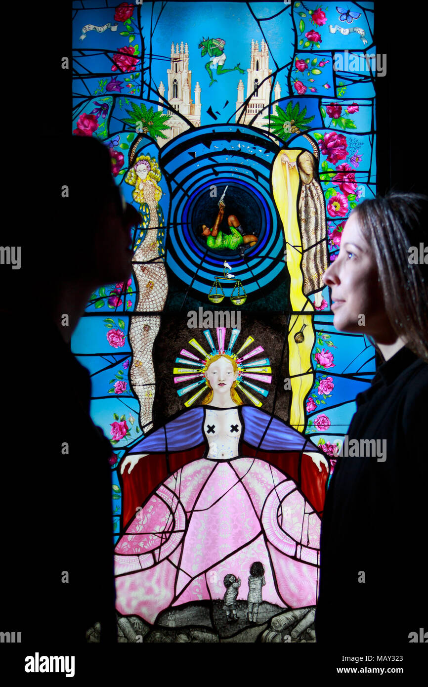 Edinburgh, Scotland. UK. 5th April 2018. A new exhibition at the National Museum of Scotland will examine the diverse work of 15 established and emerging glass artists in Britain. Pictured: model silhouette (L) Curator Bryony Windsor and (R) Sarah Rothwell curator. Glass: Pinkie Maclure created Beauty Tricks. Pako Mera/Alamy Live News - Stock Image
