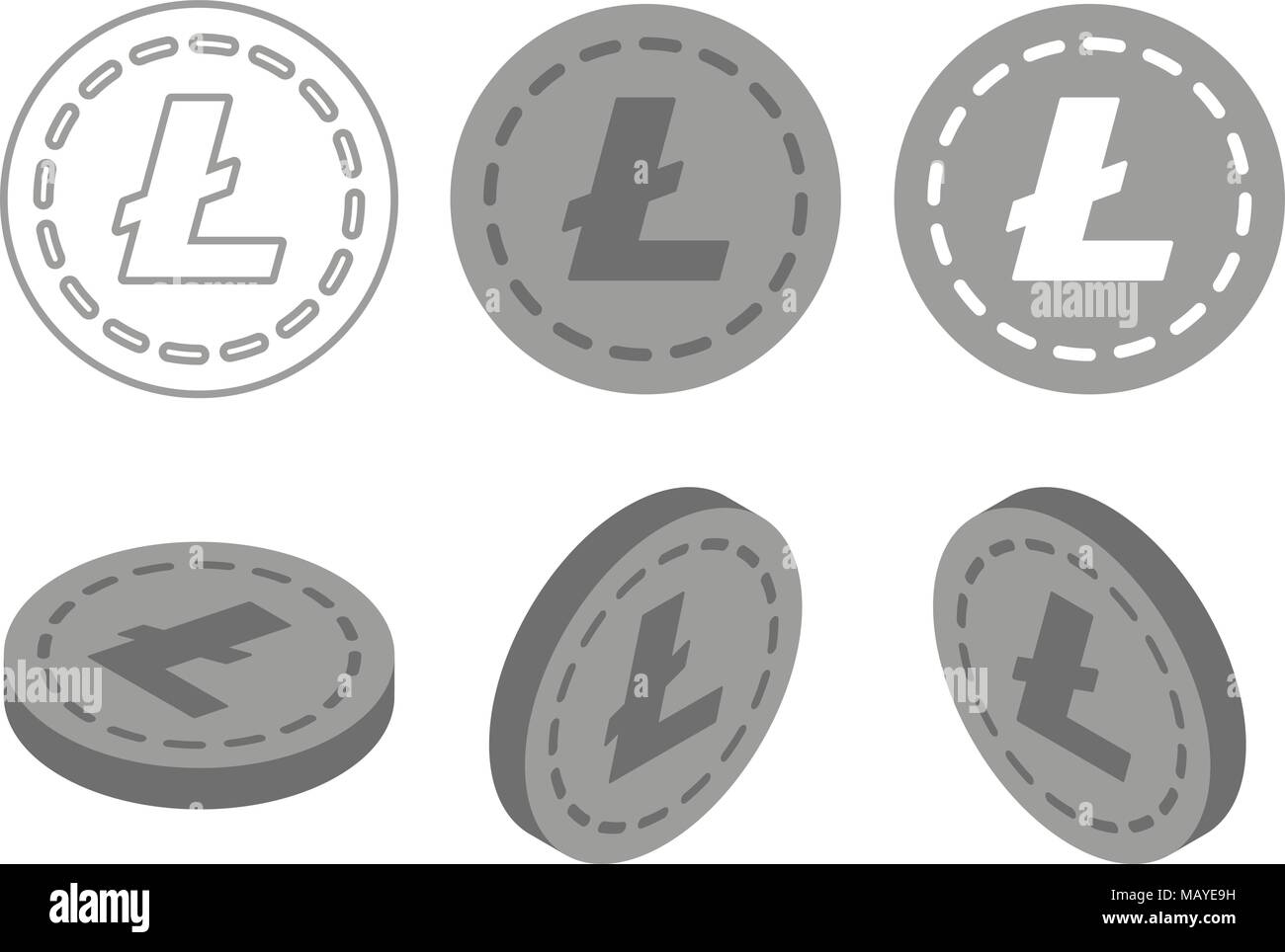 Set Of Icons Litecoin Ripple Ethereum Bitcoin Coins On The