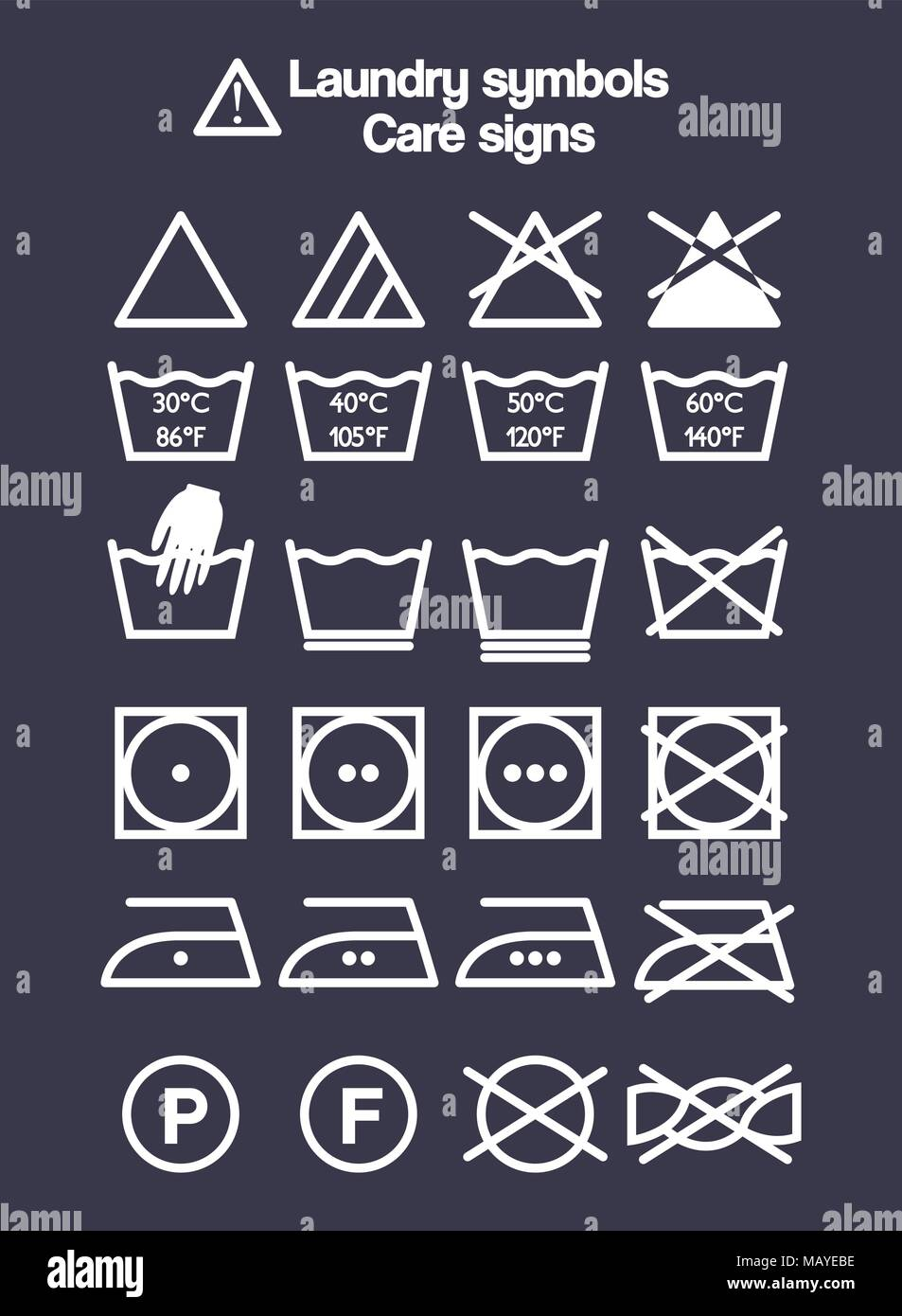Washing symbols stock photos washing symbols stock images alamy laundry symbols set washing and care signs and labels for clothes stock image biocorpaavc Gallery