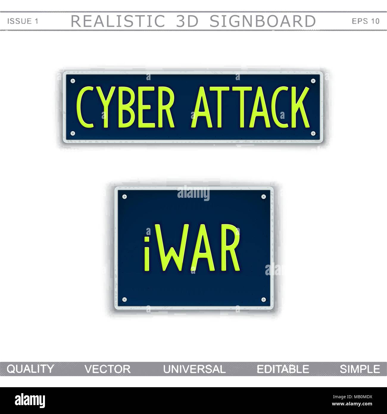 Conceptual signboard design. Cyber Attack. iWar. Car license plate stylized. Vector elements - Stock Image