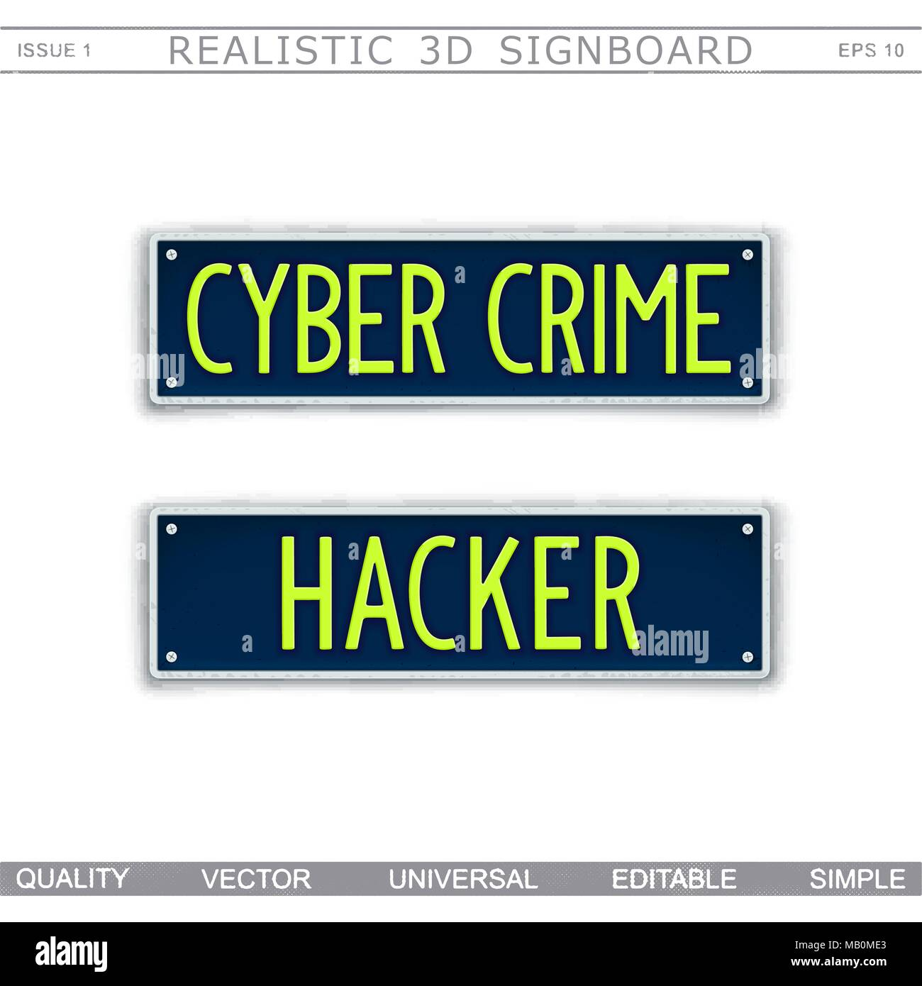 Conceptual signboard design. Cyber Crime. Hacker. Car license plate stylized. Vector elements - Stock Image