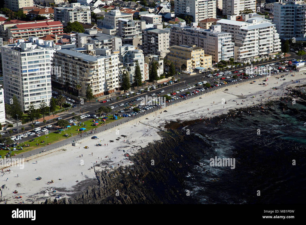 Beach, Sea Point, Cape Town, South Africa - aerial - Stock Image