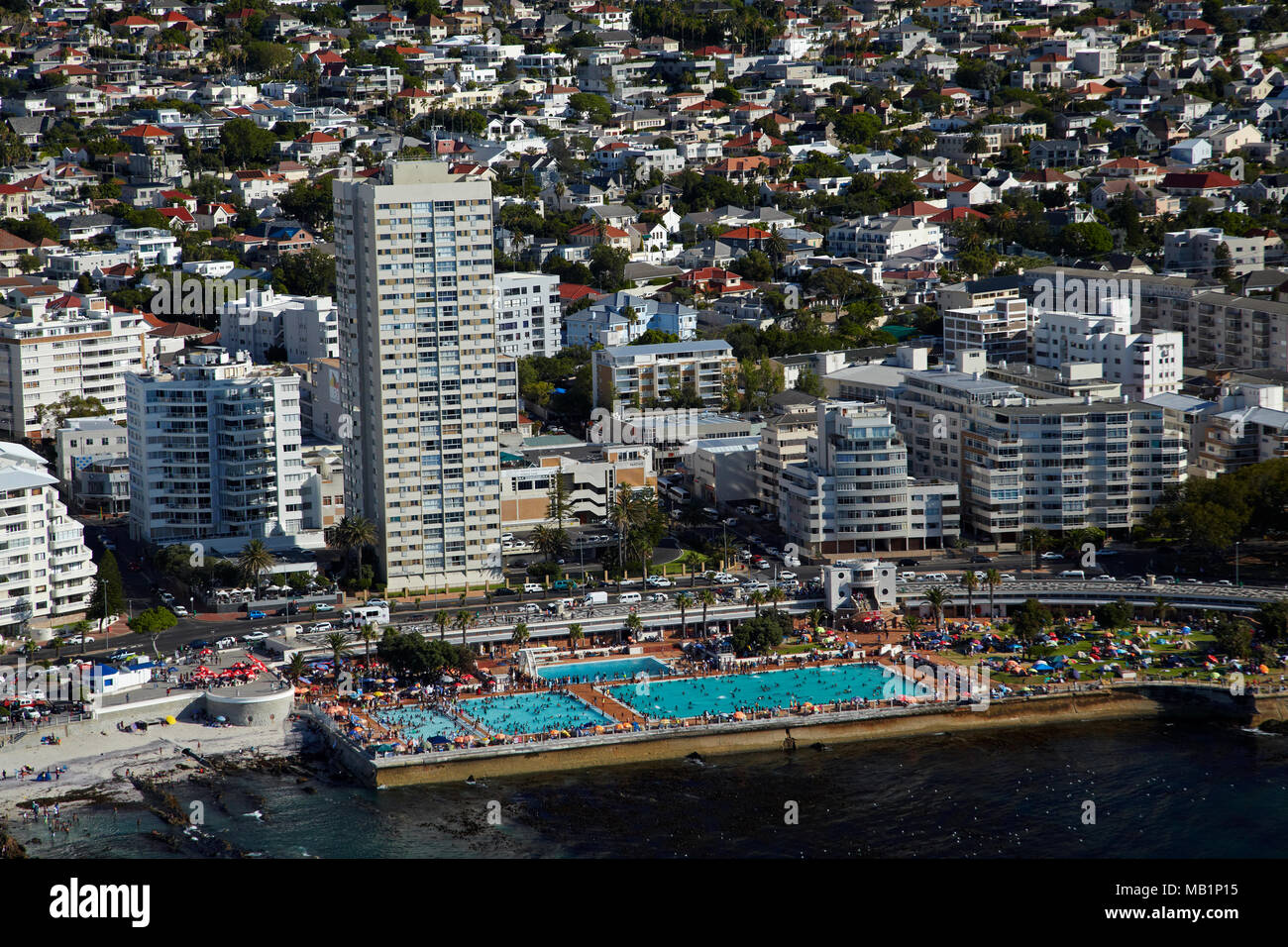 Sea Point Swimming Pool, Sea Point, Cape Town, South Africa - aerial - Stock Image