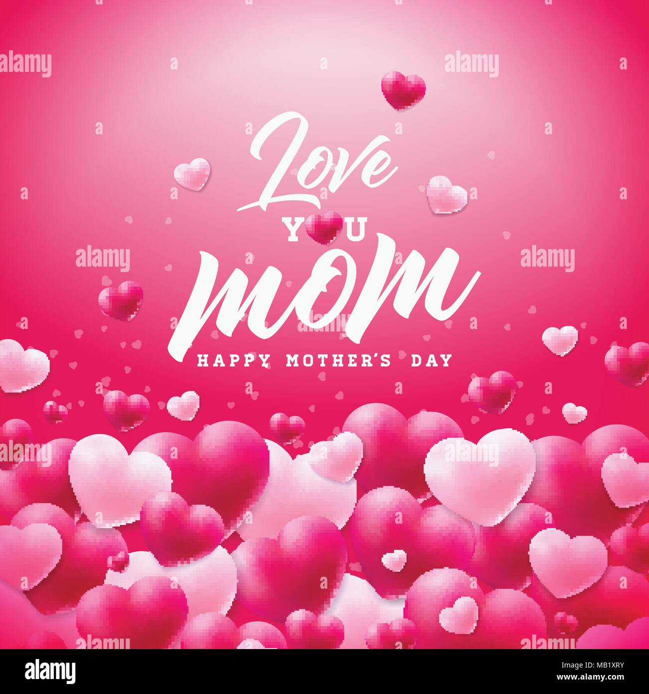 Happy Mothers Day Greeting Card Design With Heart And Love You Mom