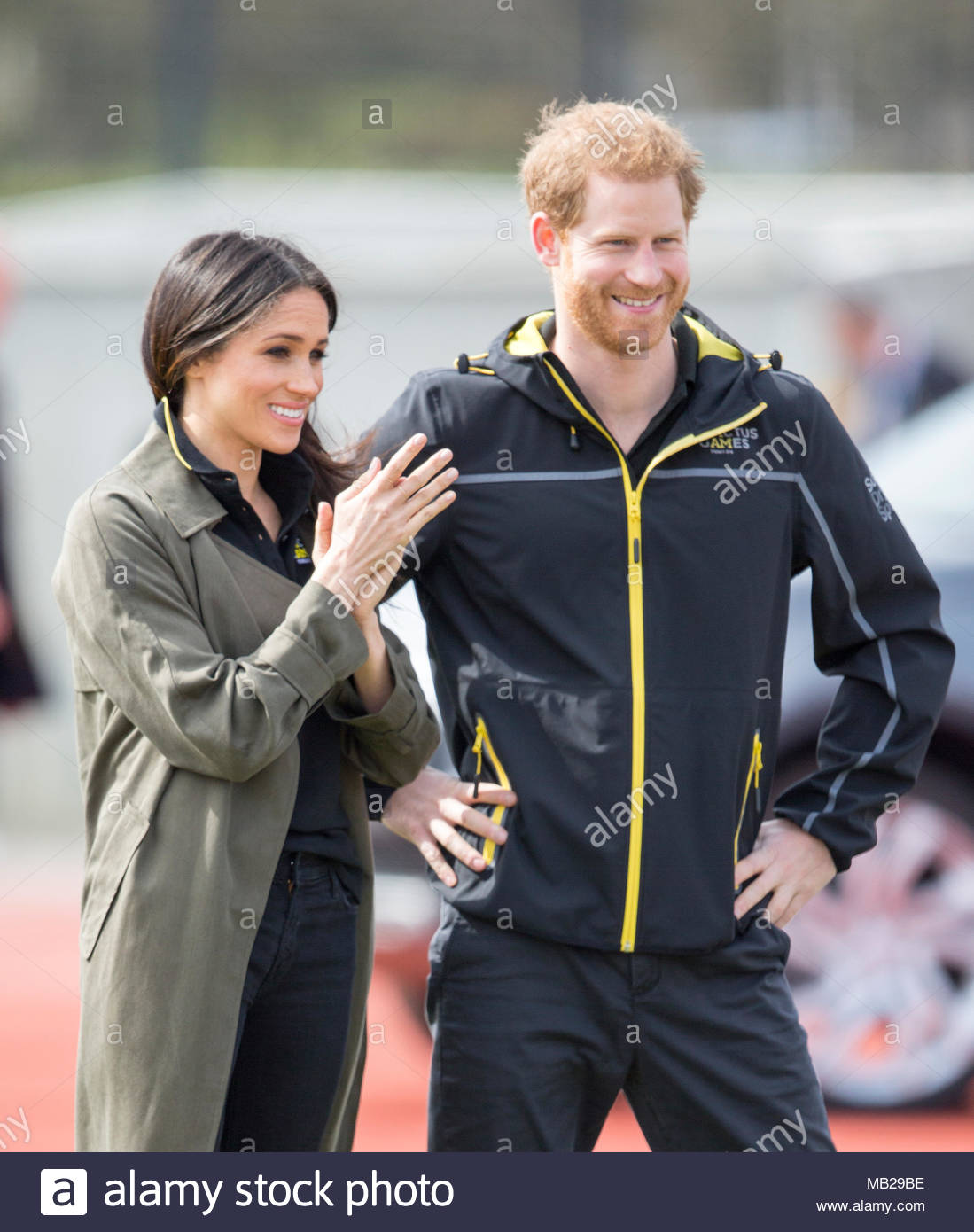 Bath, UK. 6th Apr, 2018. 6th April 2018. Prince Harry and his fiancé Meghan Markle attend the UK team trials for the Sydney 2018 Invictus Games which were held at the Bath University sports facility.  Photograph by Ian Jones - Credit: Ian Jones/Alamy Live News - Stock Image