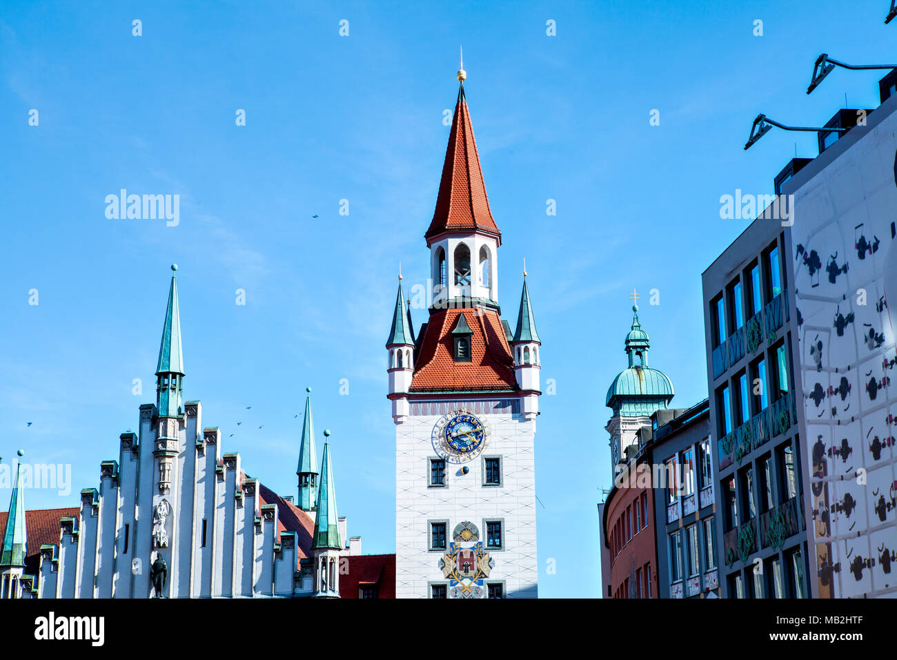 Old Townhall at Marienplatz in Munich (Mary's Square) - Stock Image