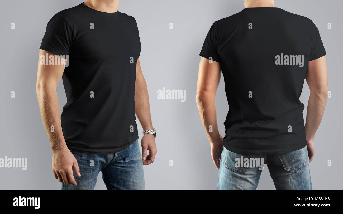 Black Mockup For The Design Of Clothes T Shirt Young Man Front View And Back Template Can Be Used Your