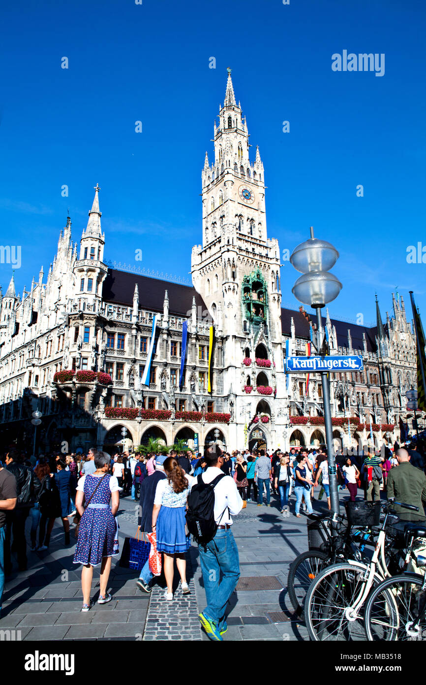 Munich, Germany - September 24, 2016: Town Hall on Marienplatz square in Munich, Germany - Stock Image