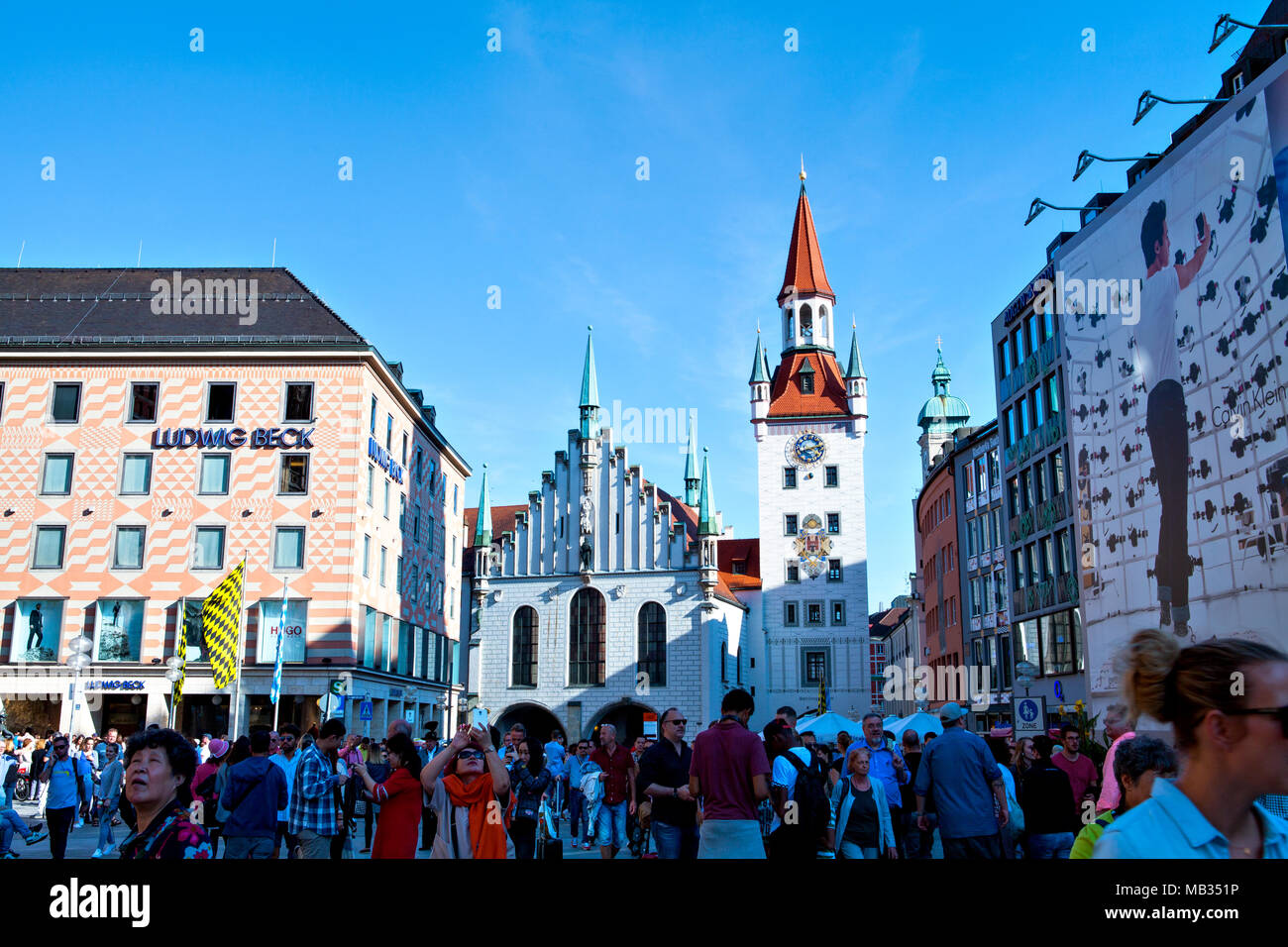 Munich, Germany - September 24, 2016: People in front of  the old Townhall at Marienplatz in Munich (Mary's Square) - Stock Image