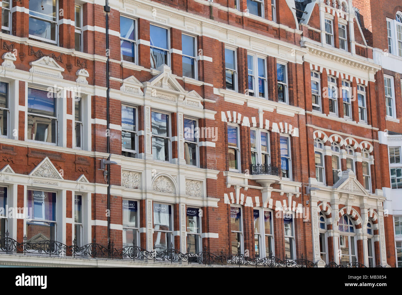 Building architecture detail. Irving street, London, England - Stock Image