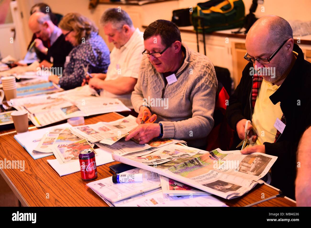 Cirencester England UK, Saturday 07 April 2018  Keen photographers taking part in the annual Alamy Stock Photography workshop under the tuition of professional photographer Keith Morris, in Cirencester in the heart of the English Cotswolds    photo © Keith Morris / Alamy Live News Stock Photo