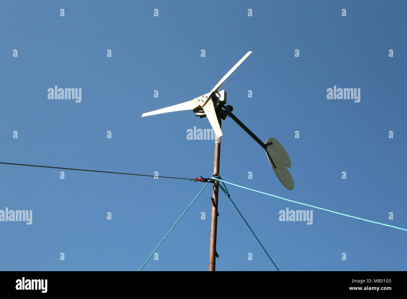 Small wind turbine clean energy production selfbuilt - Stock Image