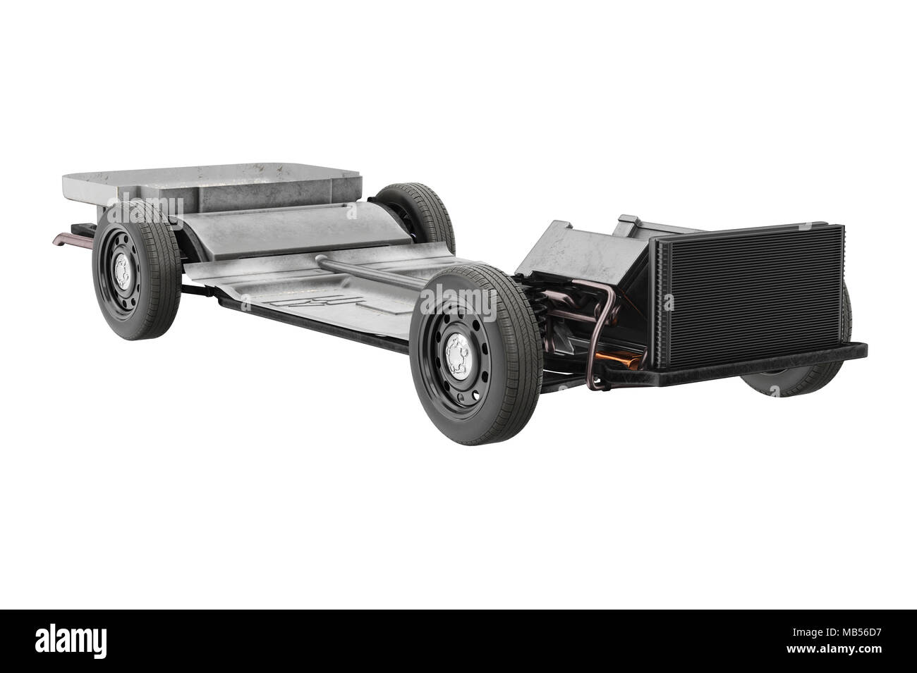 Chassis frame automobile underbody with wheel. 3D rendering Stock ...