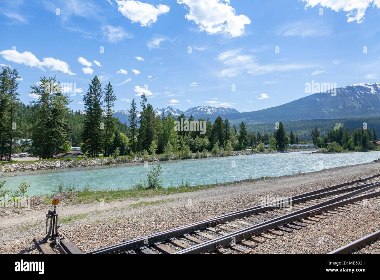 Railway lines cut through the British Columbian landscape, Canada - Stock Image