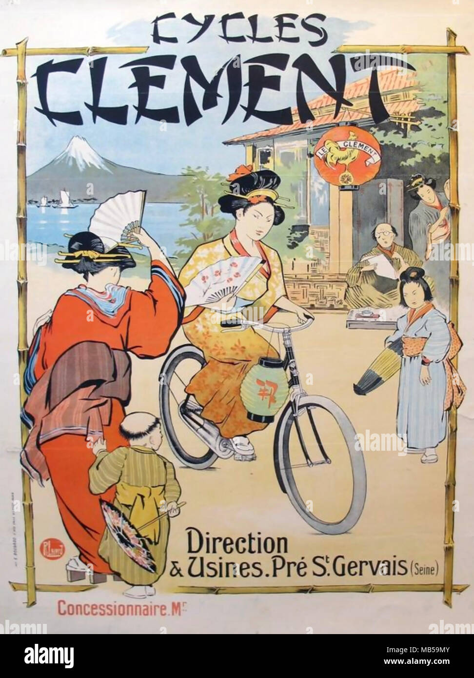 CLEMENT CYCLES French bicycle company advert about 1905 promoting sales in Japan - Stock Image