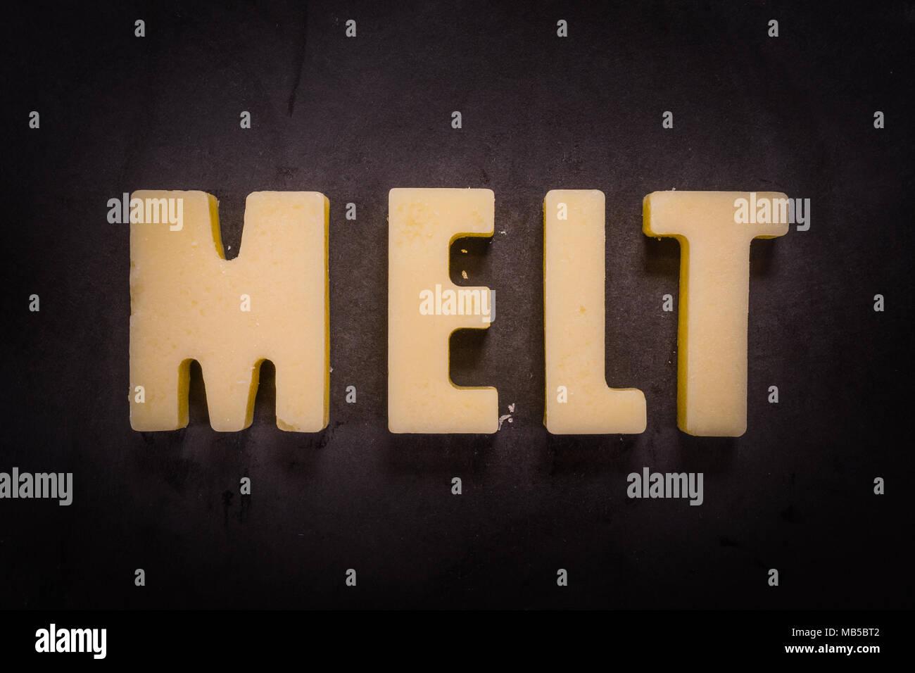 Butter Words Melt on cast iron skillet - Stock Image