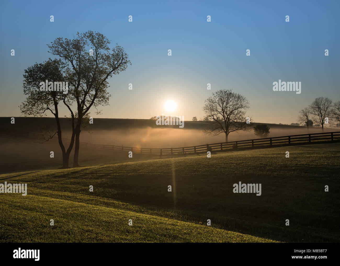 Sun Rises Over Foggy Hills of Kentucky with black fence running through - Stock Image