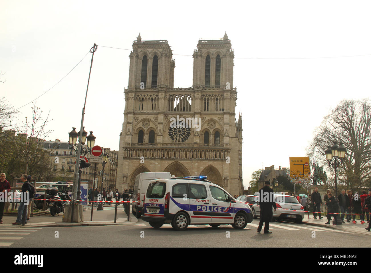 Paris, France -  03 April 2018. A Police car blocks a road leading to the Notre Dame after the area was sealed off due to a security alert on 3 April. The security alerts come a week after the shooting of police officer Arnaud Beltrame in Southern France.  @ David Mbiyu/Alamy Live News - Stock Image