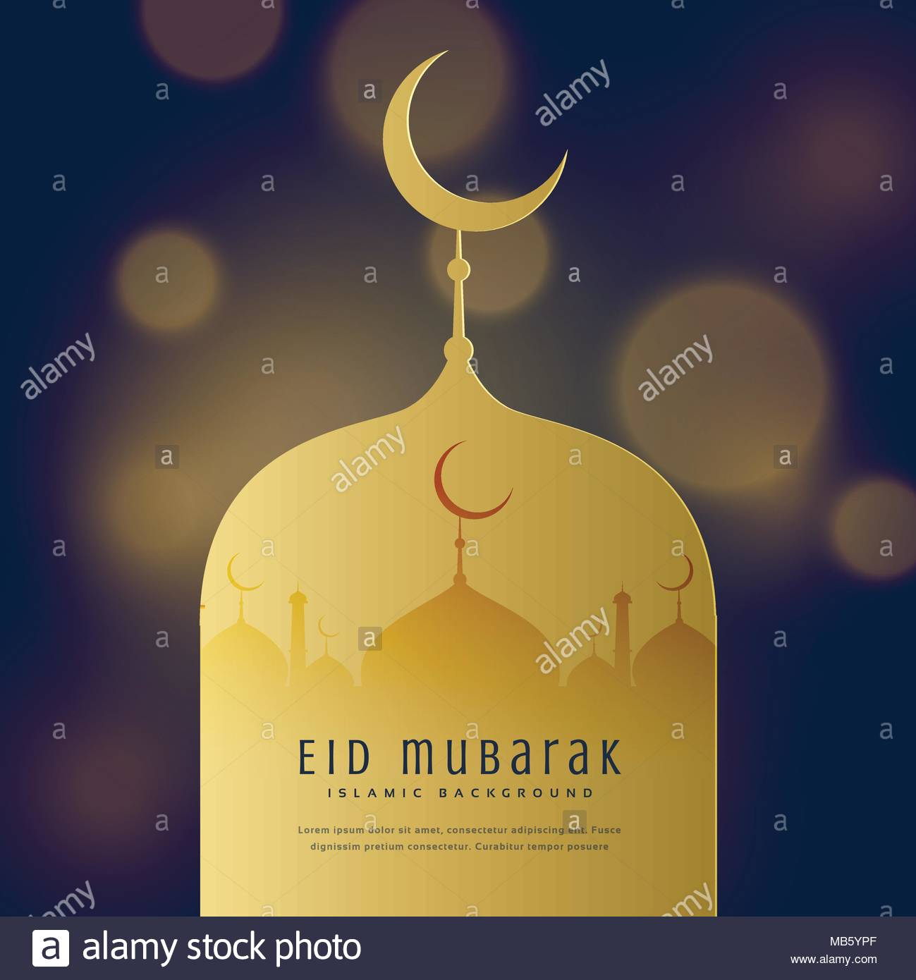 Eid Mubarak Greeting Card Design Background Stock Vector Art