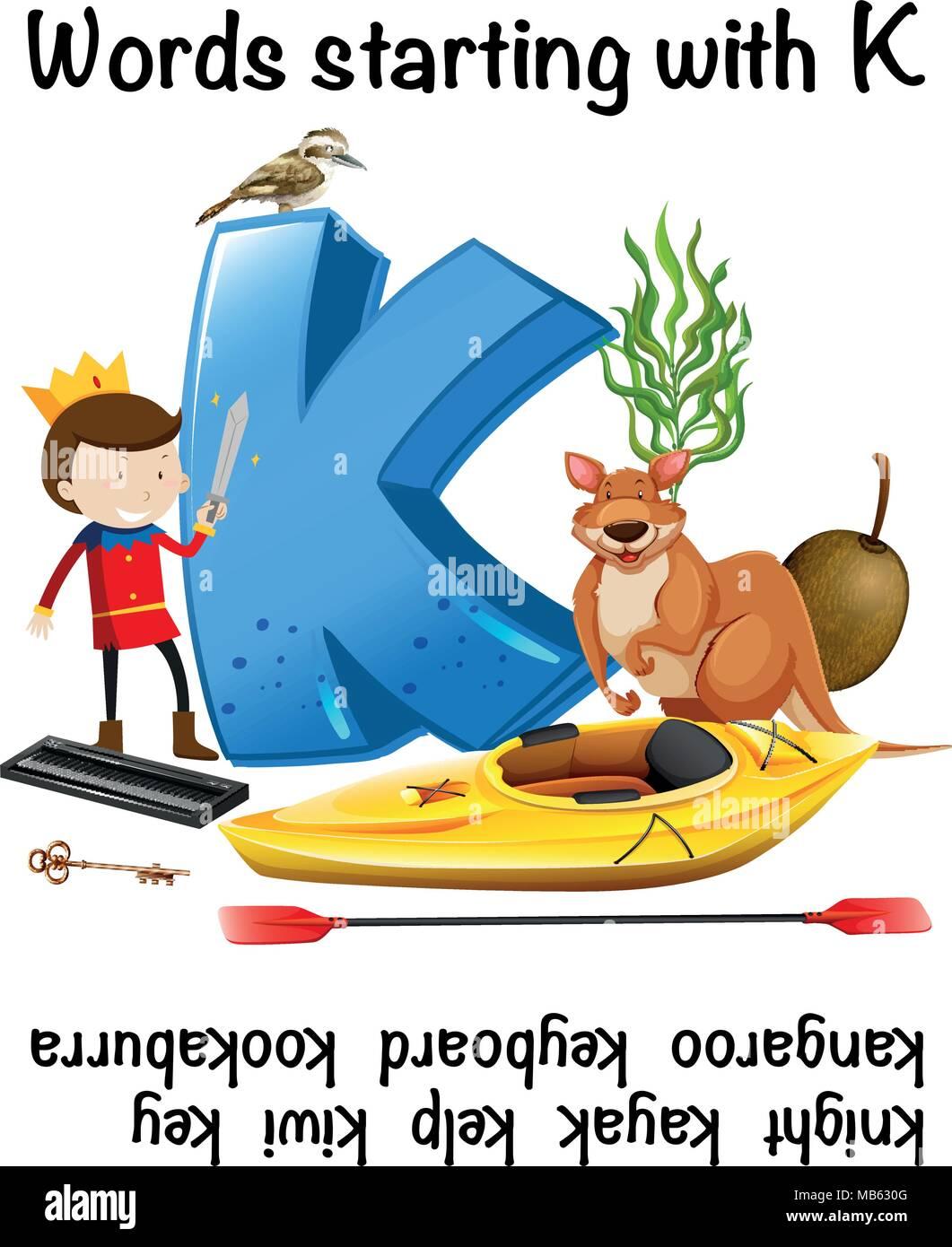 Word Starting With Letter K Illustration Stock Vector Art