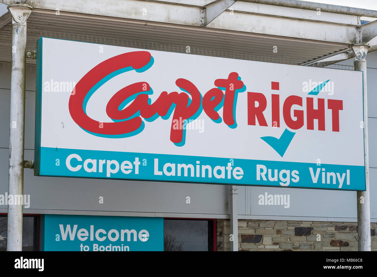 CarpetRight is possibly facing closure of stores in the UK - exterior of Bodmin Retail Park CarpetRight store before potential closures. - Stock Image