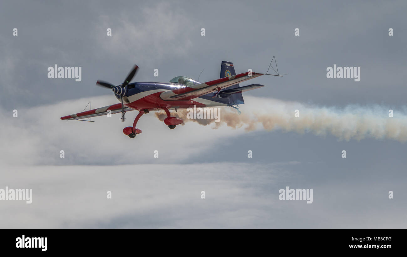 Air Show Aviation Flight Courchevel altiport airport of altitude - Stock Image