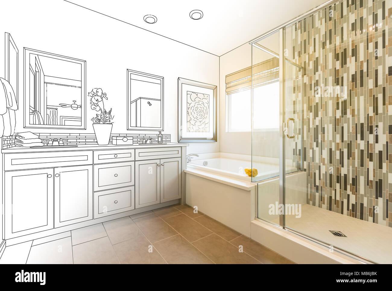 Custom Master Bathroom Design Drawing Gradating to Finished Photo ...