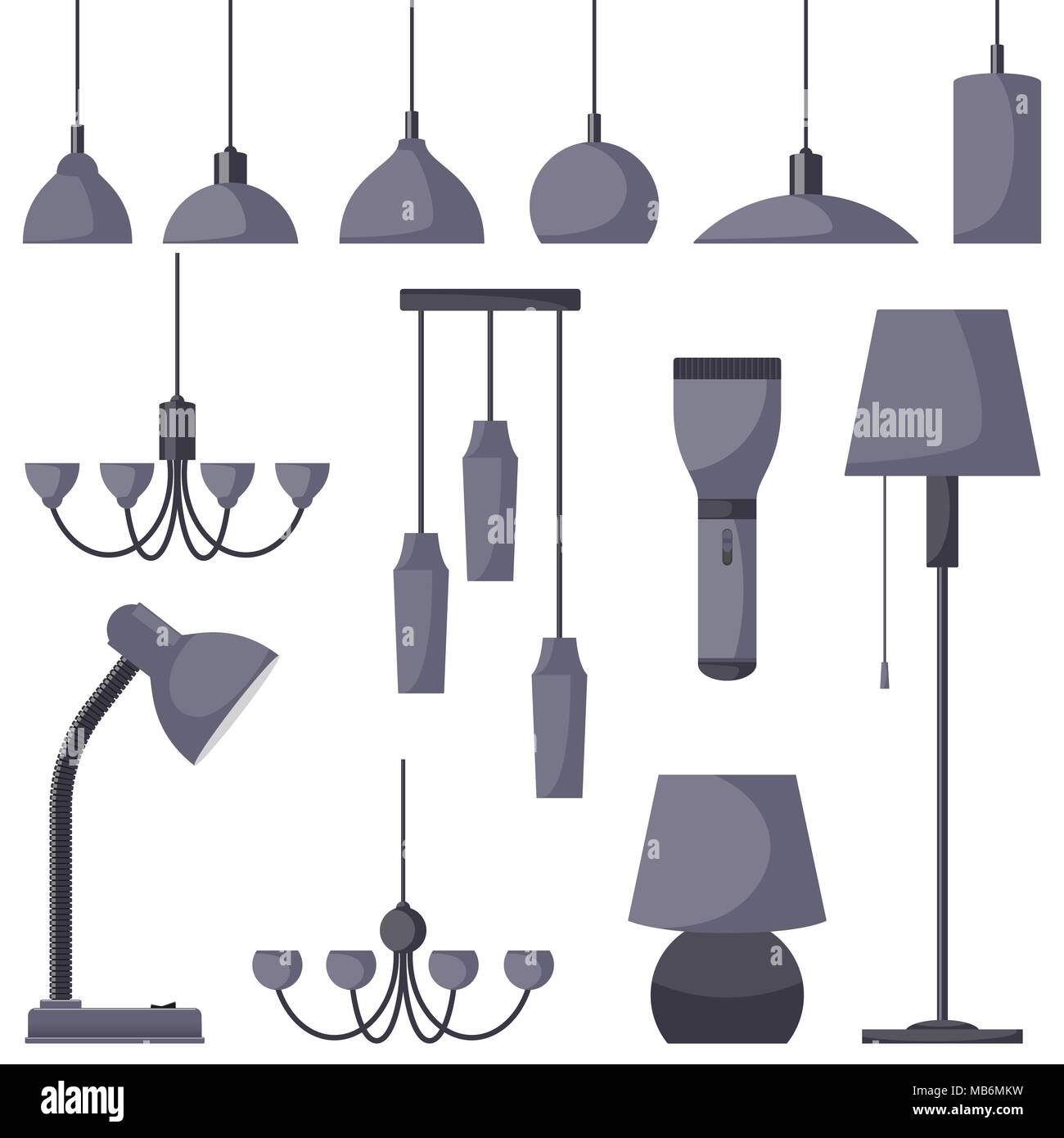 Lamps of different types set chandeliers lamps bulbs table lamp lamps of different types set chandeliers lamps bulbs table lamp flashlight floor lamp elements of modern interior vector illustration in fla aloadofball Choice Image