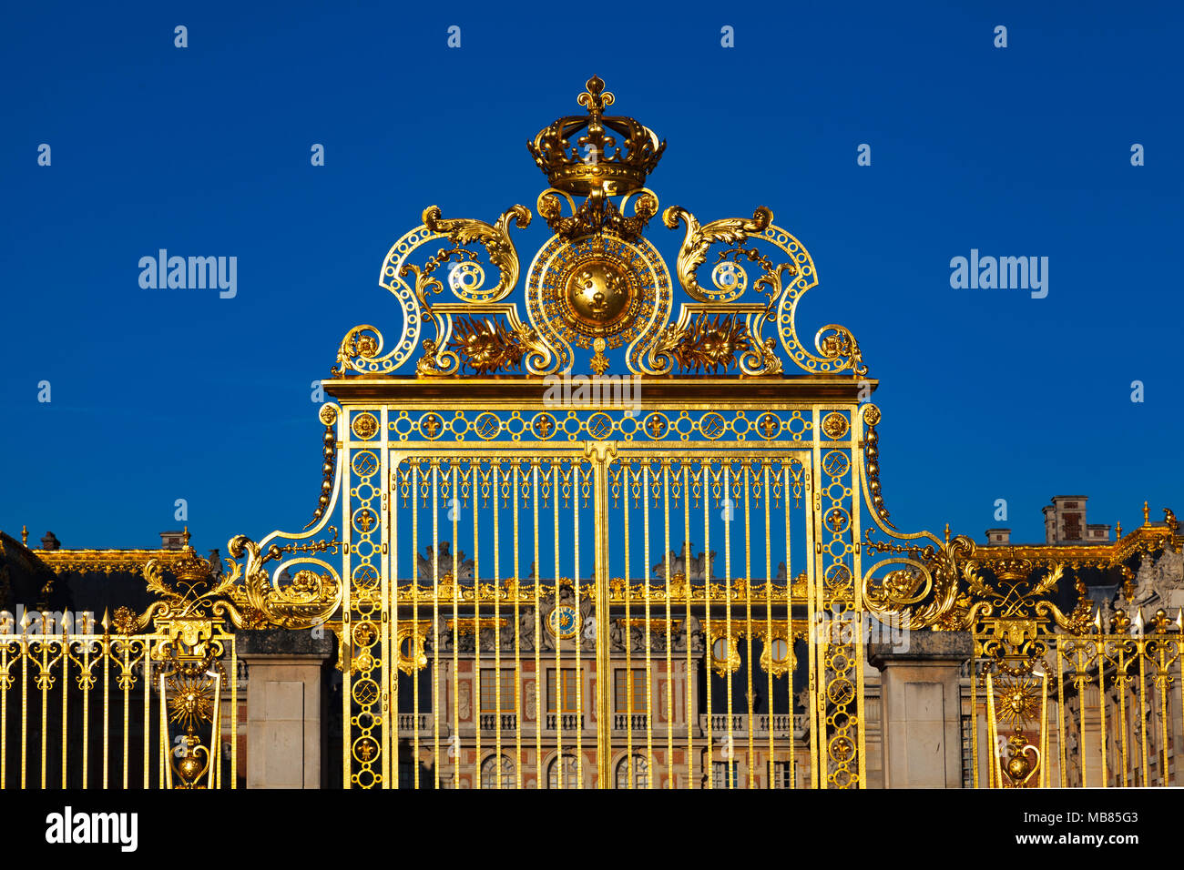 Chateau de Versailles (Palace of Versailles), a UNESCO World Heritage Site, France - The Gate of Honour - Stock Image
