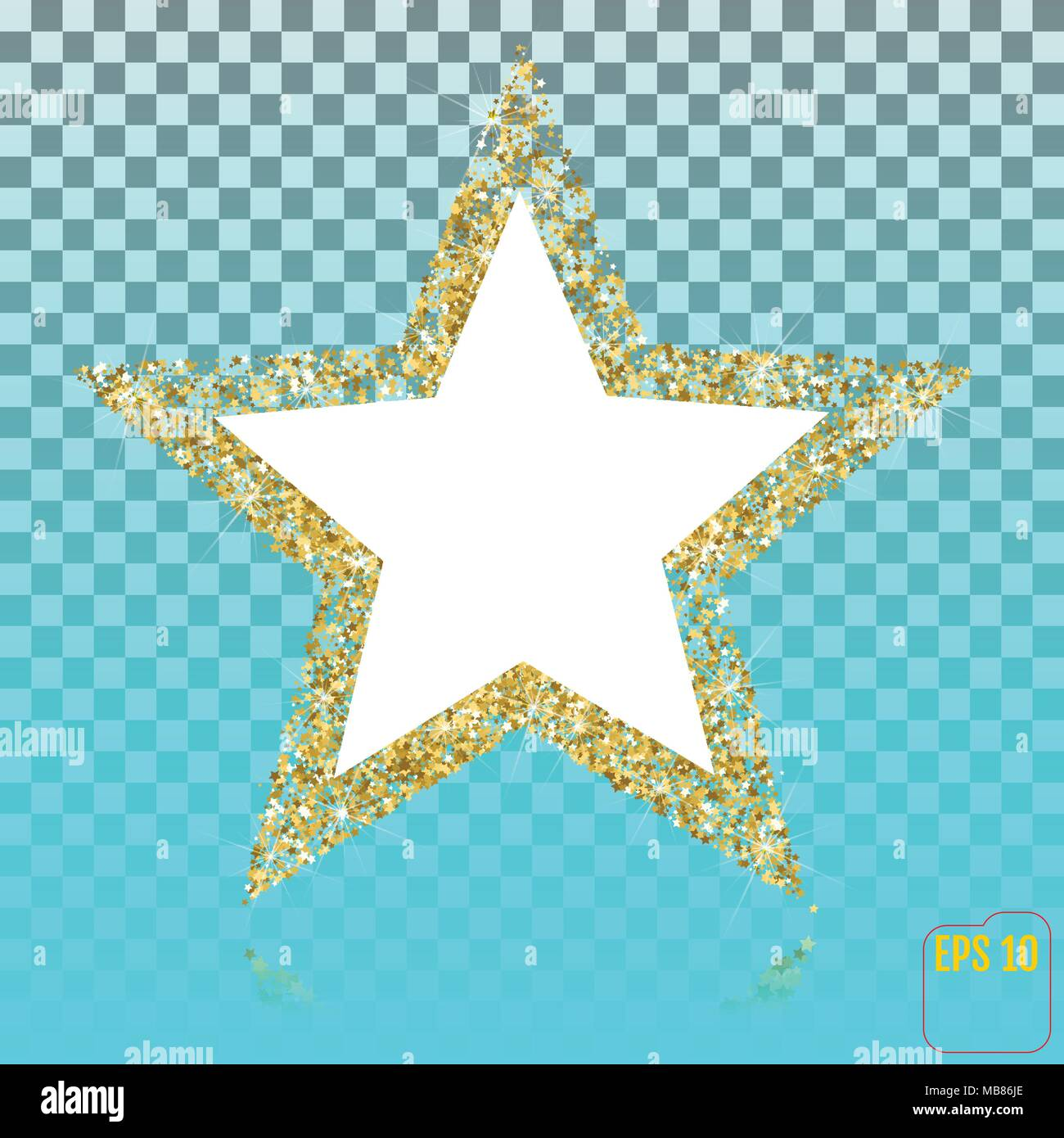 golden glitter star of many small stars vector banner on transparent