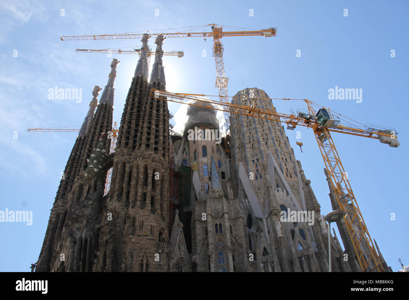Barcelona, Spain -  28th March, 2018. View of the Sagrada Familia, a UNESCO World Heritage Site by Gaudi. With only eight complete spires out of eighteen, It is anticipated that the building could be completed by 2026—the centenary of Gaudí's death. General view of Barcelona, Spain. @ David Mbiyu/Alamy Live News - Stock Image