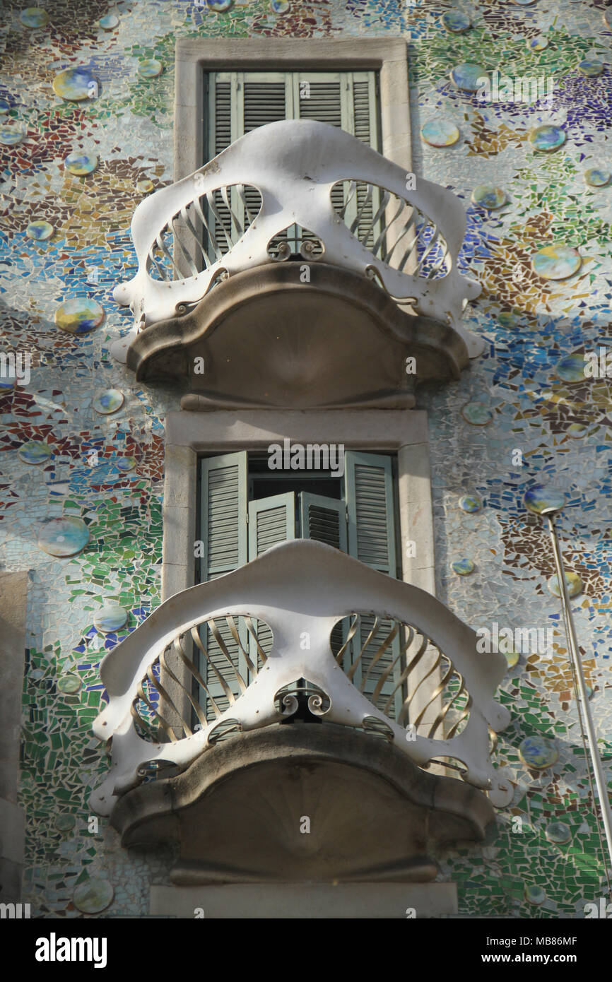 Barcelona, Spain -  28th March 2018. The facade of the Casa Batlló by Antoni Gaudí,  was commissioned by Lluís Sala Sánchez and built in 1877. General view of Barcelona, Spain. @ David Mbiyu/Alamy Live News - Stock Image