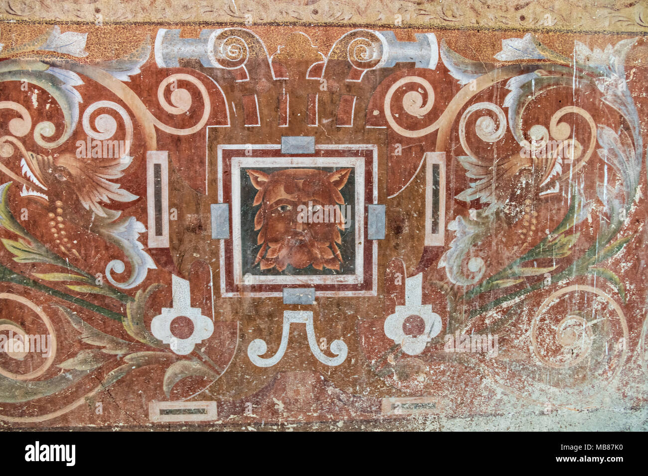 View of hand painted wallpaper in the derelict and fading Hacienda de Jaral de Berrio in Jaral de Berrios, Guanajuato, Mexico. The abandoned Jaral de Berrio hacienda was once the largest in Mexico and housed over 6,000 people on the property and is credited with creating Mescal. - Stock Image