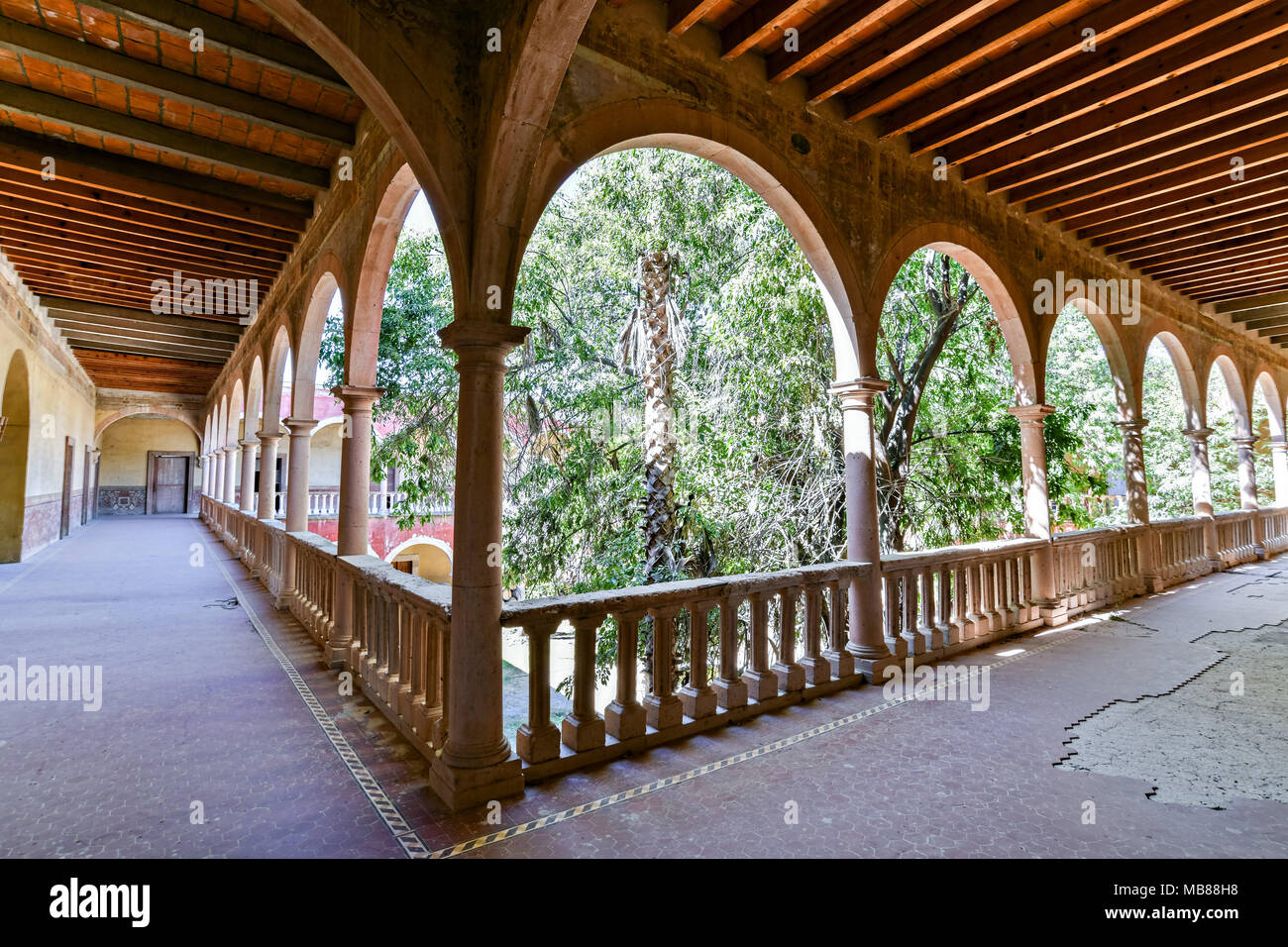 View of the derelict and fading Hacienda de Jaral de Berrio in Jaral de Berrios, Guanajuato, Mexico. The abandoned Jaral de Berrio hacienda was once the largest in Mexico and housed over 6,000 people on the property and is credited with creating Mescal. - Stock Image