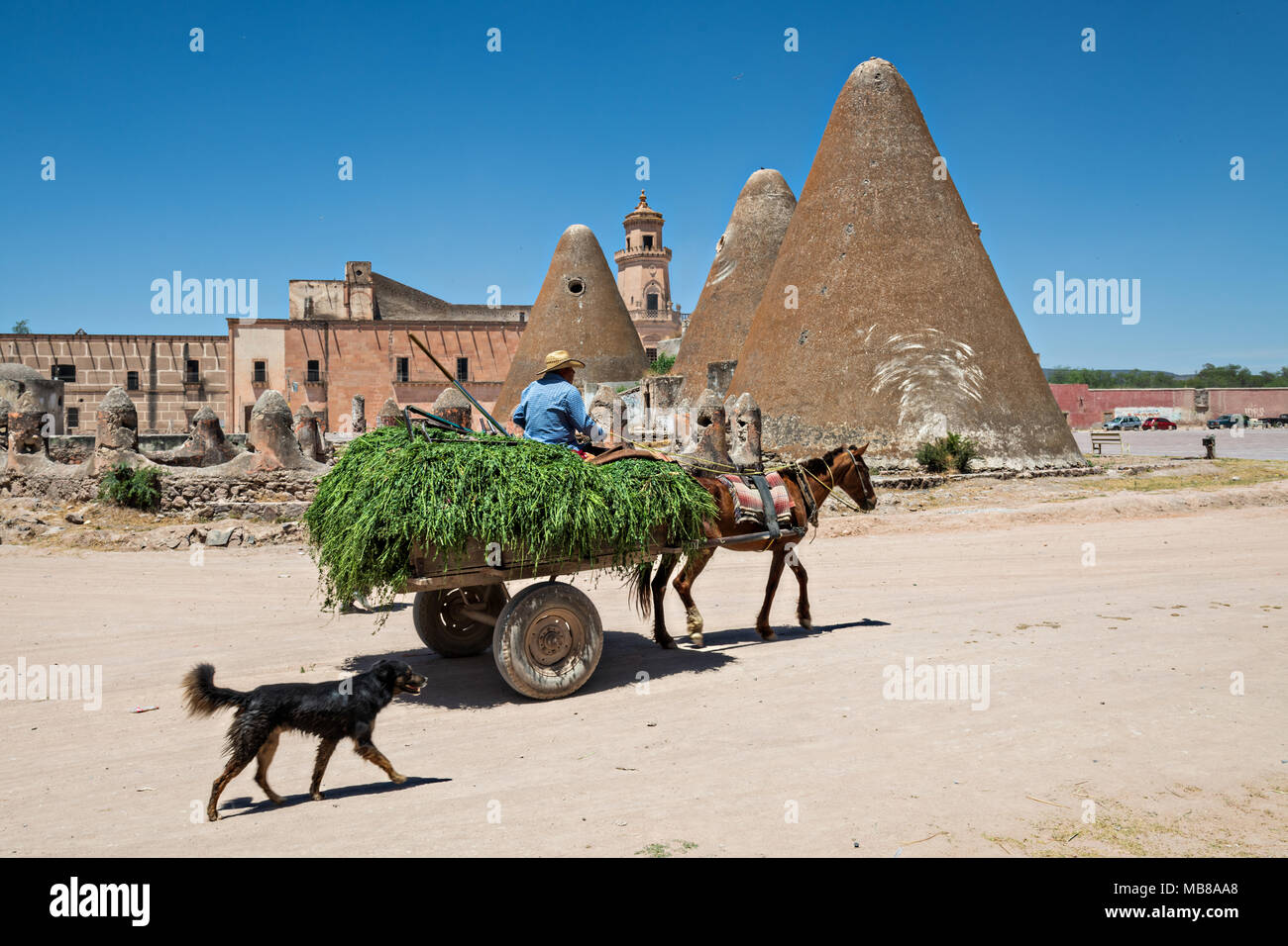 A horse cart passes the pyramid shaped granaries and the front towers of the Hacienda de Jaral de Berrio in Jaral de Berrios, Guanajuato, Mexico. The abandoned Jaral de Berrio hacienda was once the largest in Mexico and housed over 6,000 people on the property and is credited with creating Mescal. - Stock Image